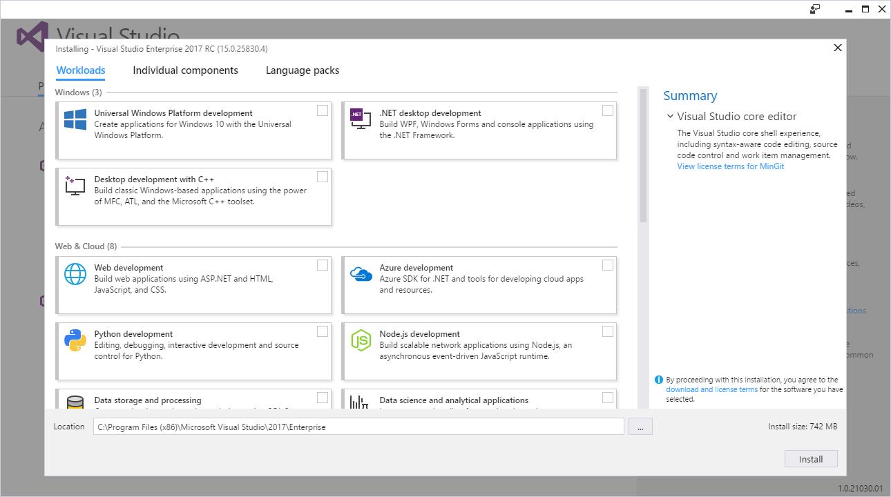 Inicio de instalación de Visual Studio Tools para Apache Cordova