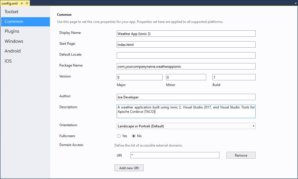 Modificación del archivo Config.xml de la Aplicación