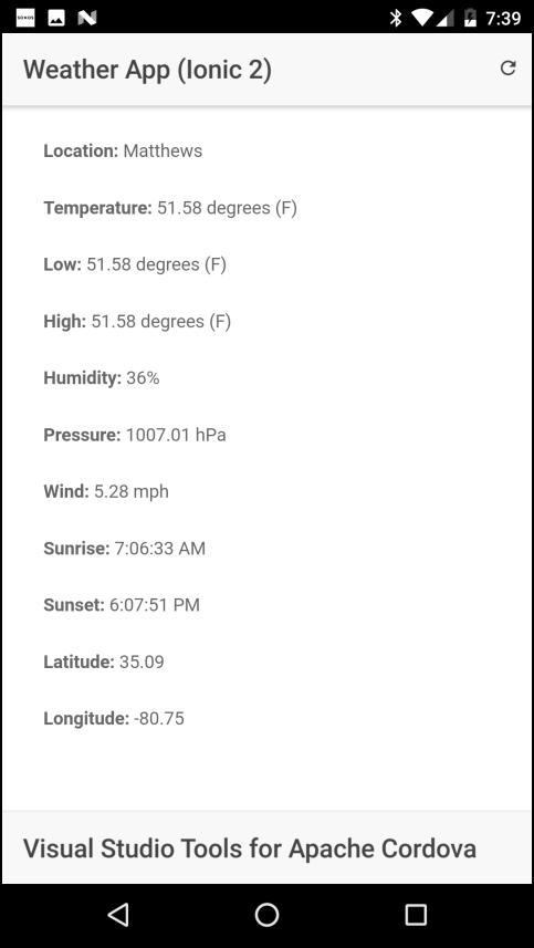 Aplicación del tiempo: las Condiciones Actuales del tiempo