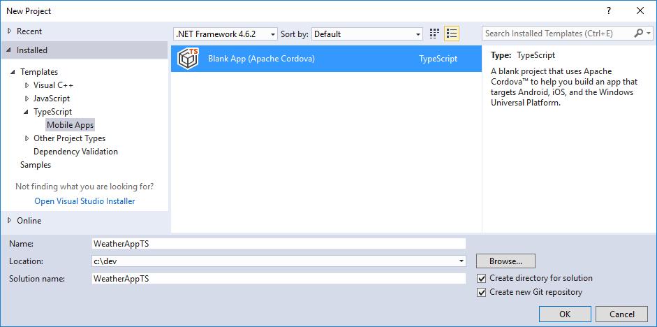 Using typescript in a cordova project microsoft docs new typescript project template pronofoot35fo Choice Image