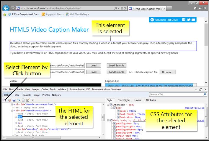 Navigating The F12 Developer Tools Interface Internet Explorer Microsoft Docs