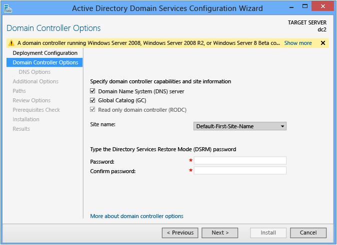 Install a Replica Windows Server 2012 Domain Controller in