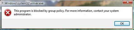 [Screen shot of message box from 'Windows Explorer' of Windows Vista for blocked program]