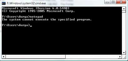 [Screen shot of message from 'Command Processor' of Windows Vista for blocked program]