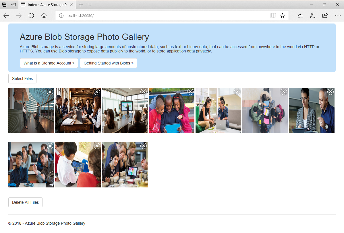 NET Photo Gallery Web Application Sample with Azure Blob Storage