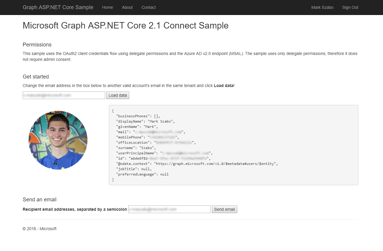 Microsoft Graph Connect Sample for ASP NET Core 2 1 - Code