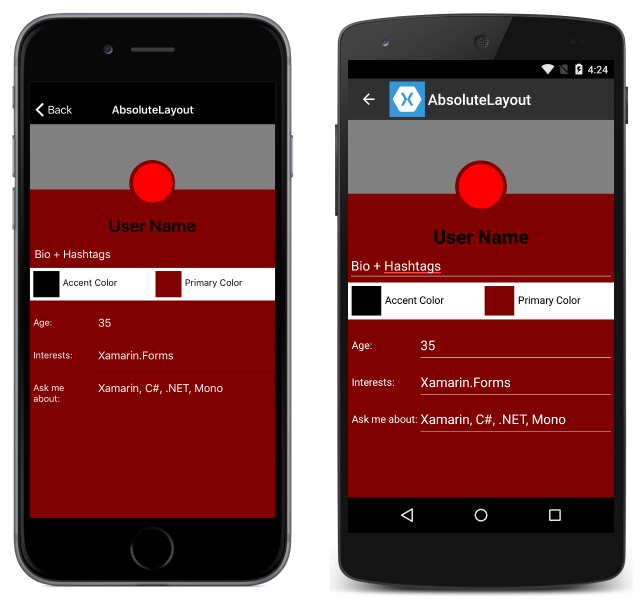 abs Xamarin Ui Forms Examples on shell title view, custom renderer, profile codes, forms search box, forms master-detail, tablet application, settings page, forms navigation, forms listview, login page border, forms filtering,
