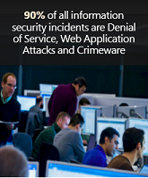 90% of all information security incidents are Denial of Service, Web Application Attacks and Crimeware