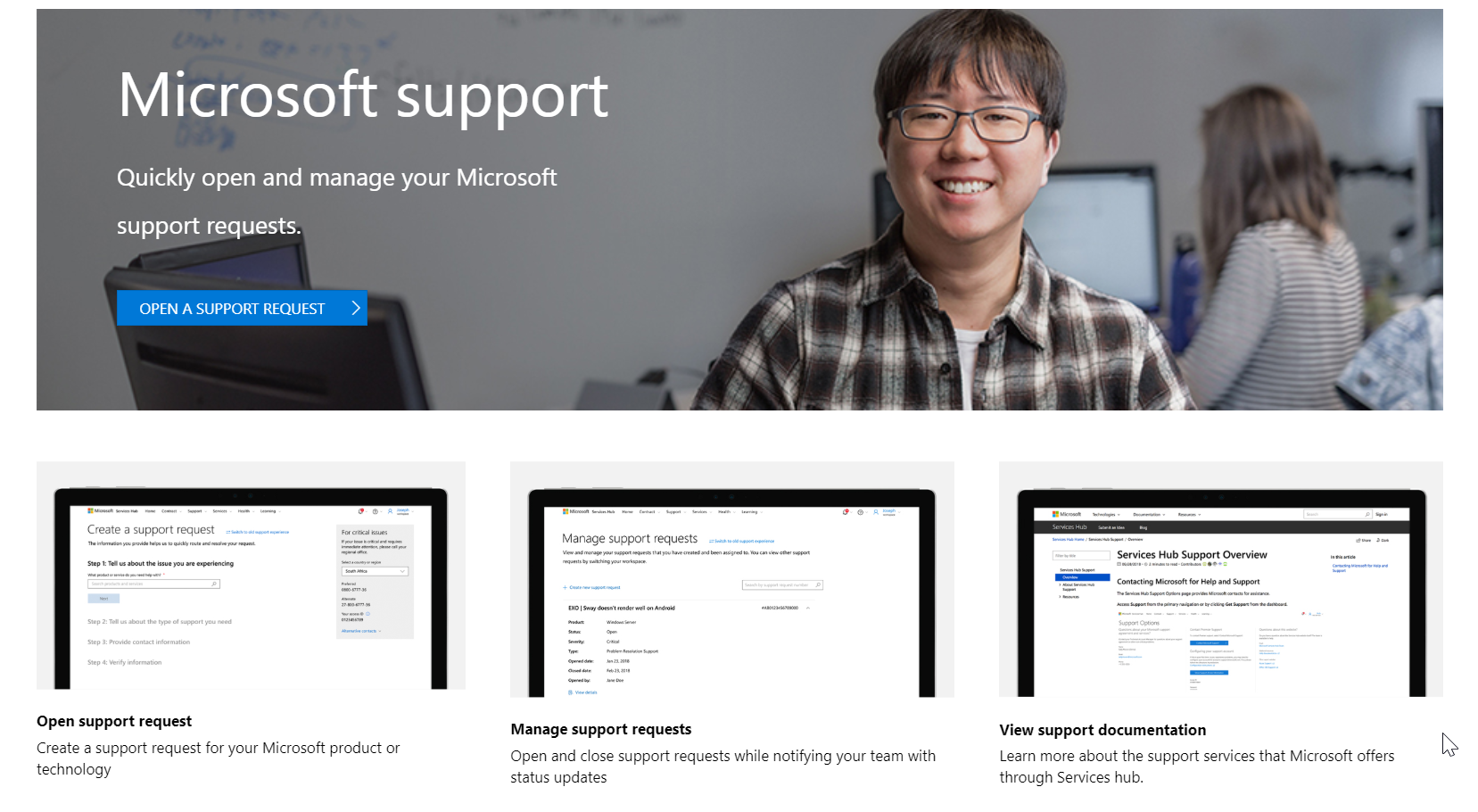 Services Hub Support | Microsoft Docs