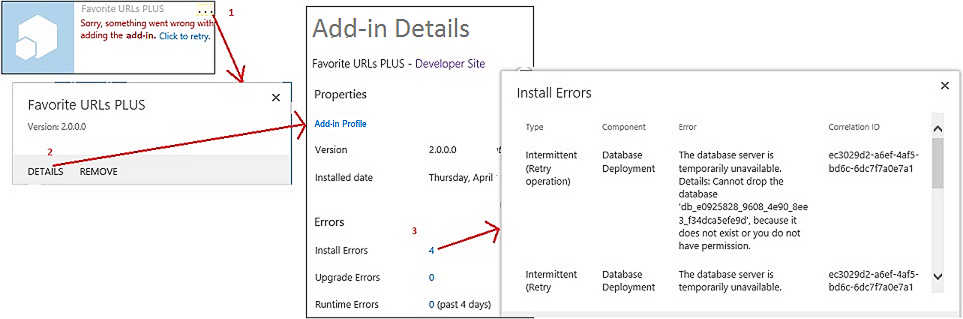 Steps to  note add-in installation errors in SharePoint.
