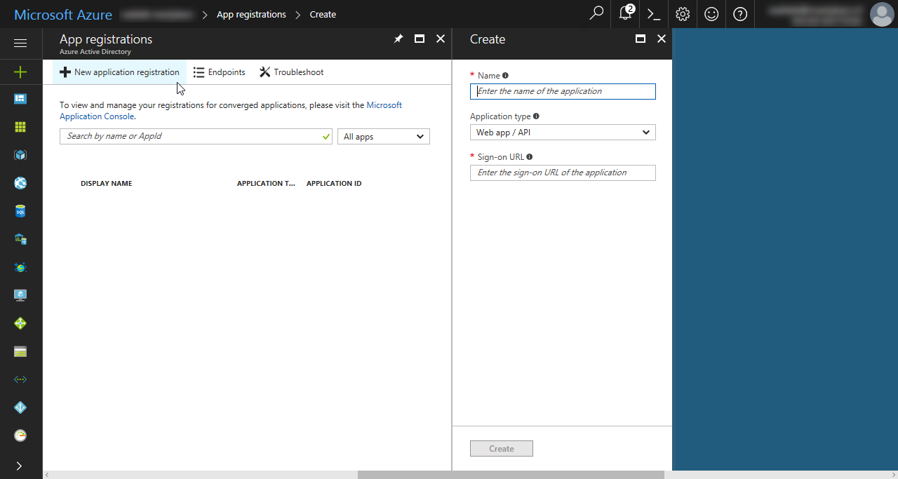 Registering new azure active directory application in the azure portal