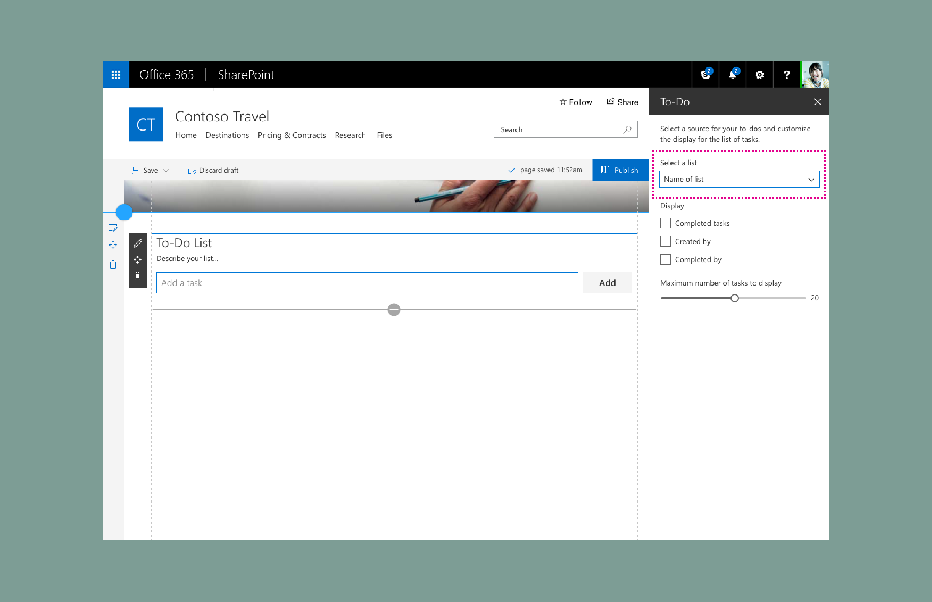 sharepoint web part design showcase create a to do list property
