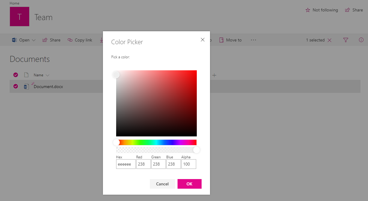 Color Picker rendered in dialog mode