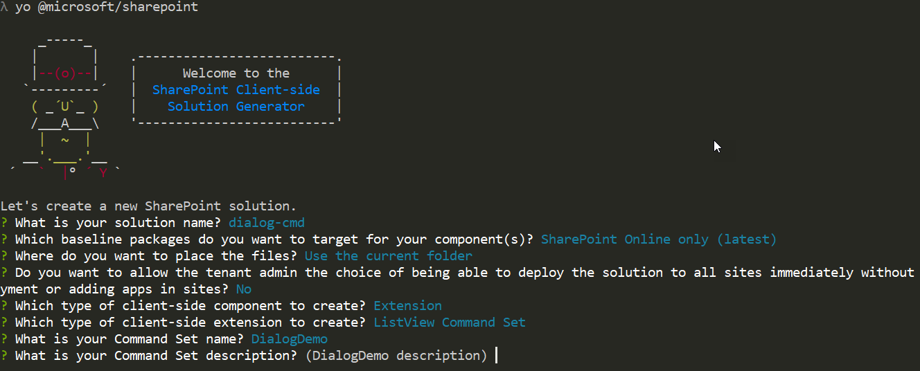 Yeoman SharePoint generator prompts to create an extension solution