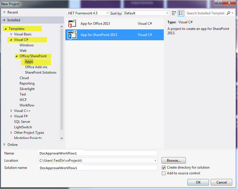 Create a sharepoint workflow app using visual studio 2012 new project dialog in visual studio 2012 ccuart Gallery