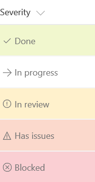 Status field with done colored green, blocked colored red, and in review colored orange
