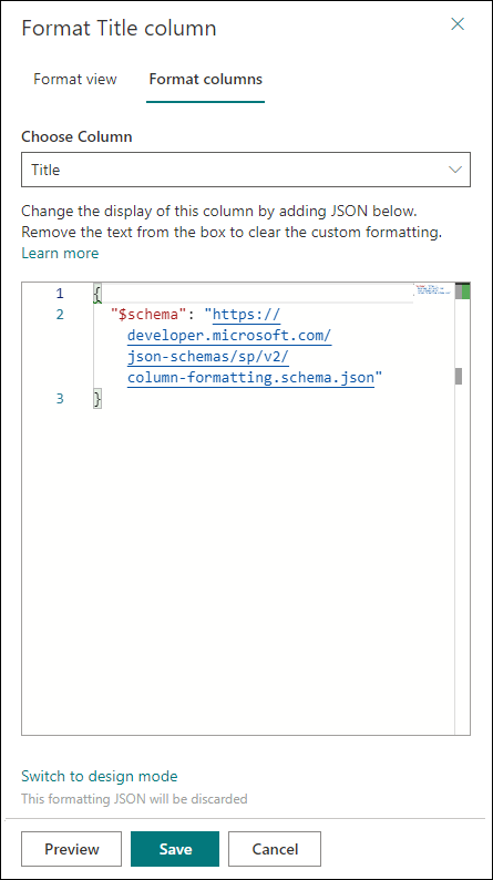 Use column formatting to customize SharePoint | Microsoft Docs