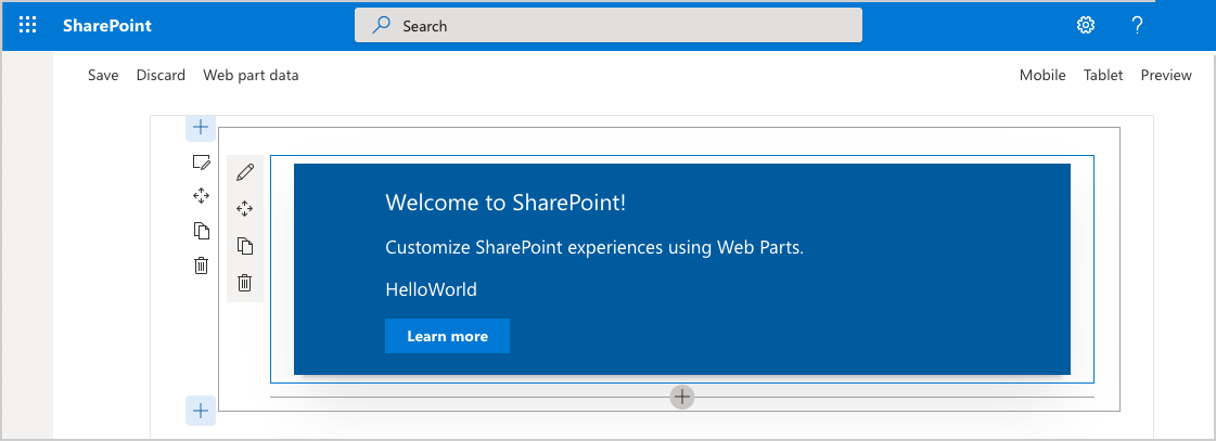 Build Your First Sharepoint Client Side Web Part Hello World 1 Solutions Electrical Software Global Offices Helloworld Running In Workbench A Online Site