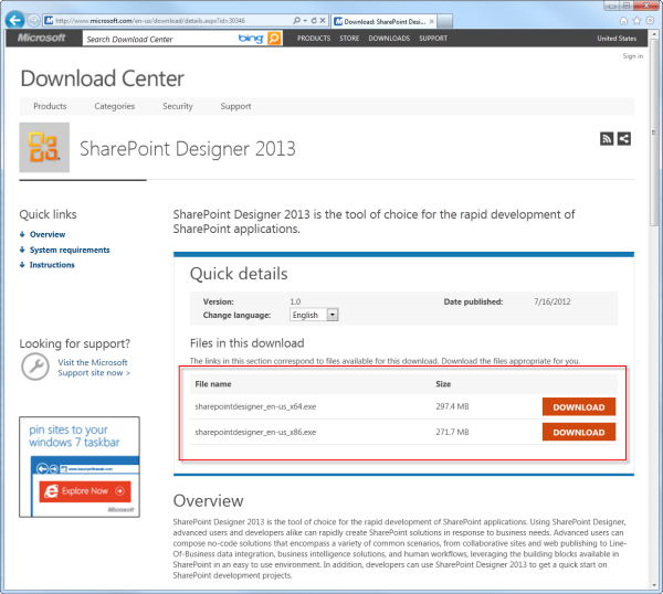 Creating a workflow by using sharepoint designer 2013 and the the sharepoint designer 2013 download page maxwellsz