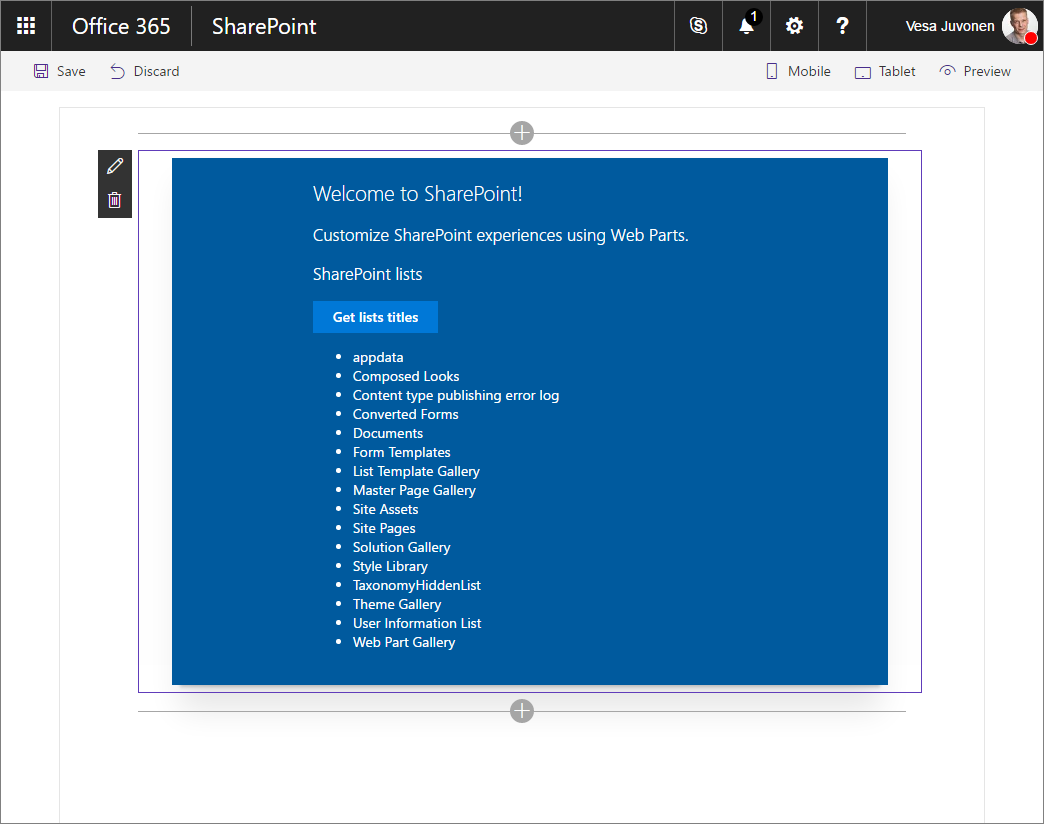 Sharepoint framework client side web part showing titles of sharepoint lists in the current site