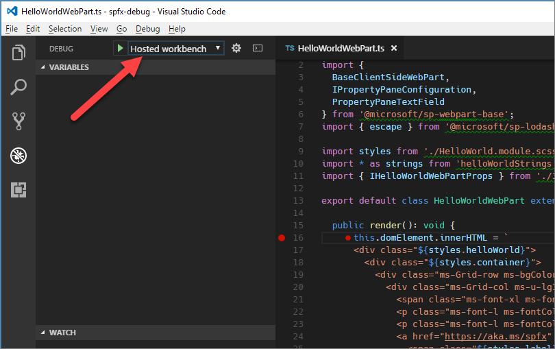 Debug SharePoint Framework solutions in Visual Studio Code