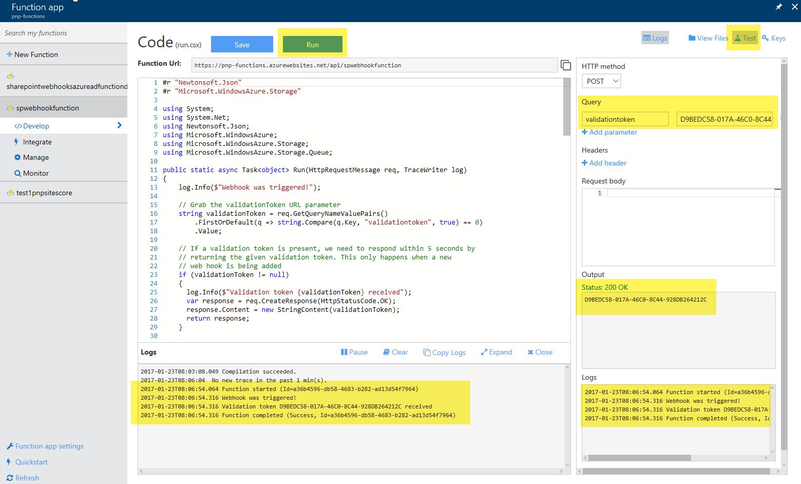 Using Azure Functions with SharePoint webhooks | Microsoft Docs