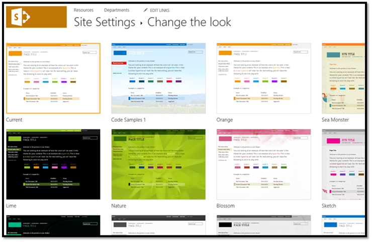 Use composed looks to brand SharePoint sites | Microsoft Docs
