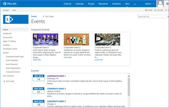 microsoft sharepoint site examples