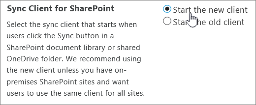 Admin setting for OneDrive sync client