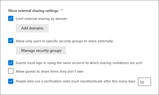 More external sharing settings