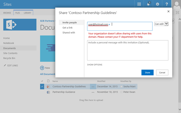Restrict sharing of SharePoint and OneDrive content by