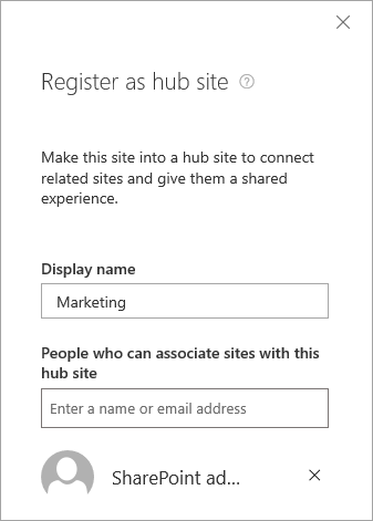 The Register as hub site panel