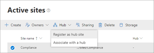Registering a site as a hub site