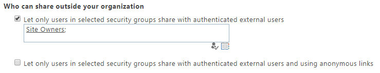 Screenshot of settings for who can share outside your organization