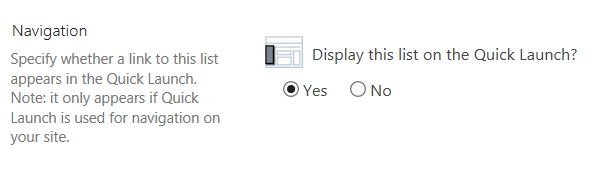 Displays Quick Launch settings
