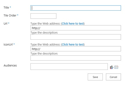 Displays dialog box to create a new entry for a CustomTile in the November 2016 PU for SharePoint Server 2016