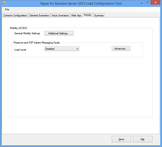 Load Configuration tool Mobility tab.