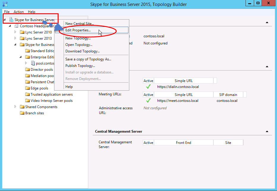 Create and publish new topology in Skype for Business Server