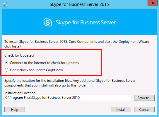 Install Skype for Business Server on servers in the topology