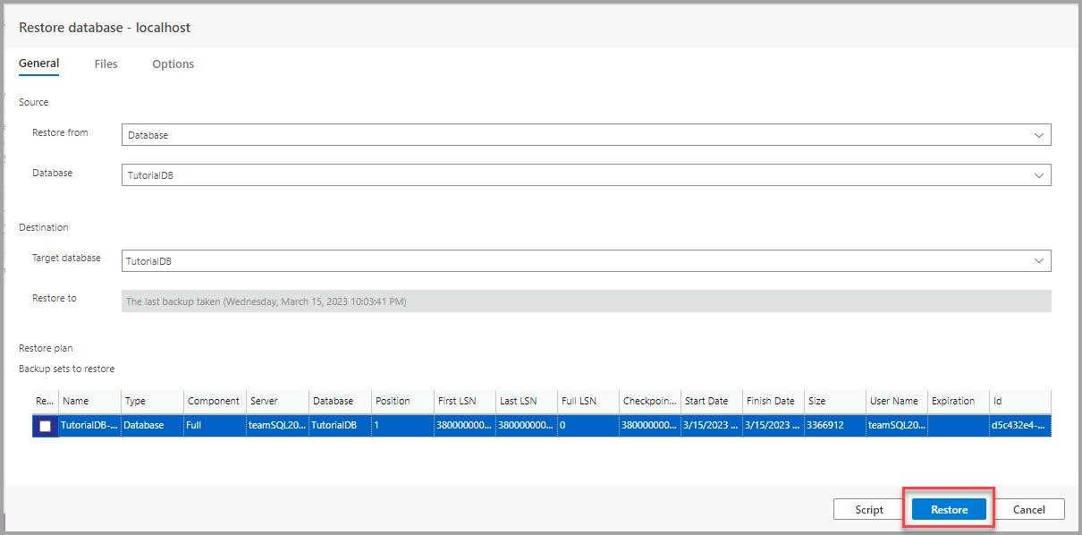 Backup and restore a database - Azure Data Studio | Microsoft Docs