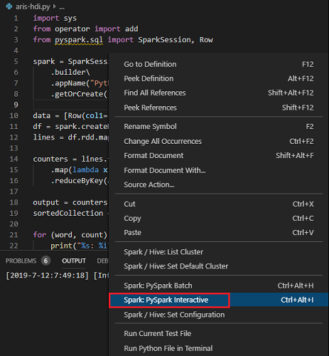 Run Spark jobs with Spark & Hive Tools for VS Code on SQL
