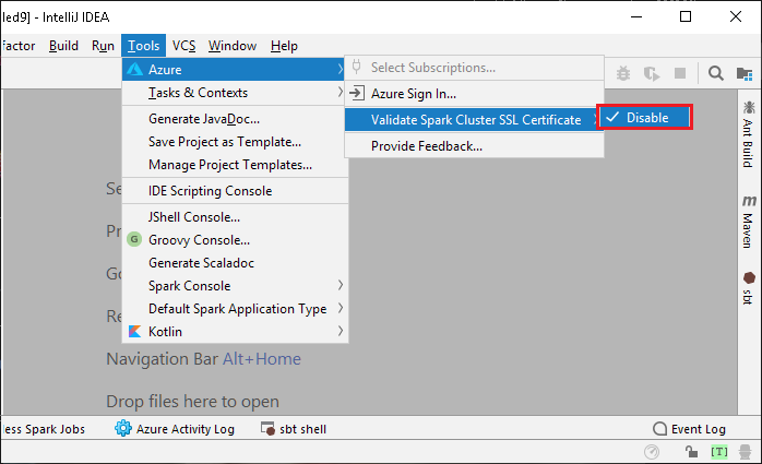 Run Spark jobs in Azure Toolkit for IntelliJ on SQL Server
