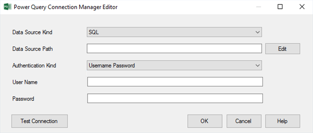 PQ Source Connection Manager Editor Authentication
