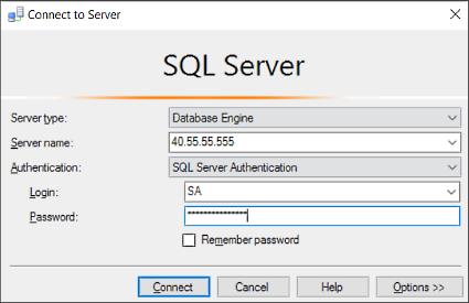 sql server management studio connect to sql database server