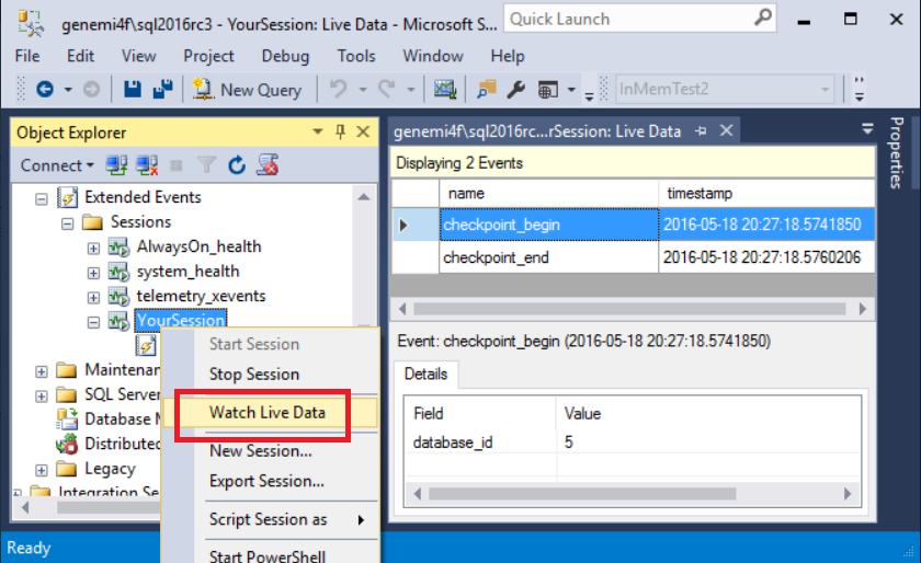 Quickstart: Extended events in SQL Server - SQL Server