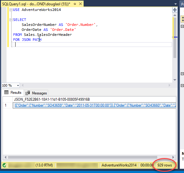 Format Query Results as JSON with FOR JSON (SQL Server) - SQL Server
