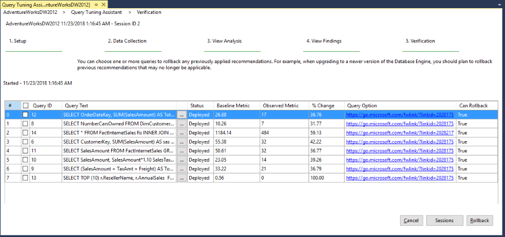 Upgrading Databases by using the Query Tuning Assistant