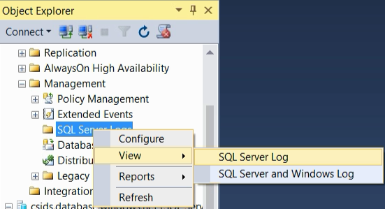 View the SQL Server error log (SQL Server Management Studio
