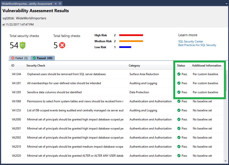 SQL Vulnerability Assessment - SQL Server | Microsoft Docs
