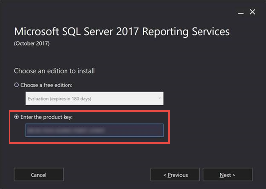 Find the product key for SQL Server 2017 Reporting Services